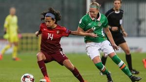 Ireland's Ruesha Littlejohn challenges Isabel Jacome Silva Dolores of Portugal