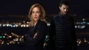 Watch out, he's behind you! Gillian Anderson and Jamie Dornan in The Fall.