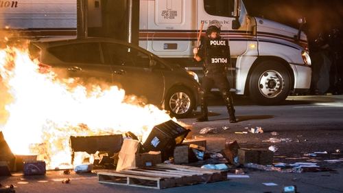 Fires were set during overnight rioting in Charlotte