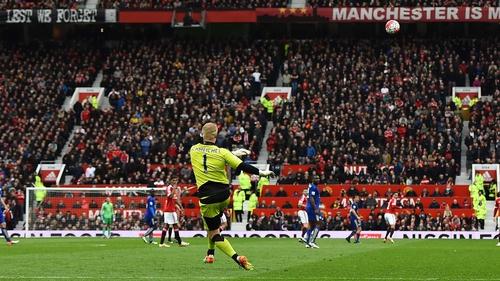 Kasper Schmeichel takes a kick out at Old Trafford last season