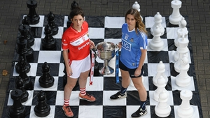 Ciara O'Sullivan (Cork) and Noelle Healy (Dublin) with the Brendan Martin Cup