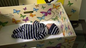 John Óg Cunningham snuggled safely in his Baby Box at UMHL