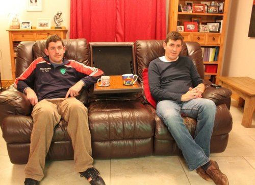Telly fans: the Cavan twins and their easy-boy couch won the internet
