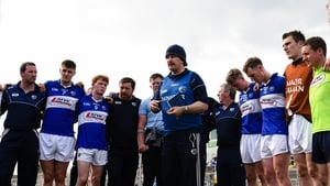Seamus 'Cheddar' Plunkett addresses the Laois panel after their defeat to  Offaly