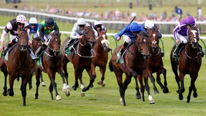 Best of Days, in the royal blue of Godolphin, wins the Royal Lodge Stakes