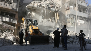 Rubble in Aleppo following Syrian government forces airstrikes this weekend