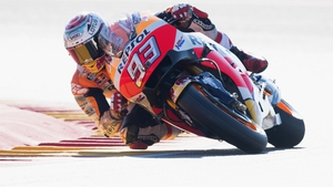 Marquez in action on the Aragon circuit in Spain