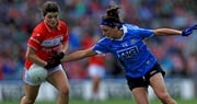 Cork's Marie Ambrose with Niamh McEvoy of Dublin in action in the senior decider