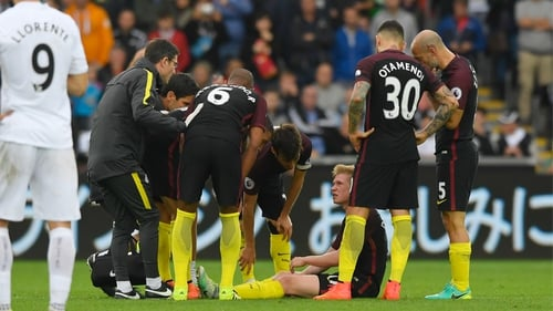 Kevin De Bruyne is surrounded by well wishers