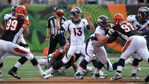 Trevor Siemian throws a pass during the fourth quarter