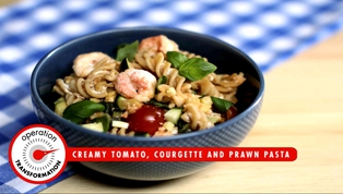 OpTrans: Creamy Tomato, Courgette and Prawn Pasta