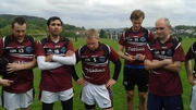 A tearful Billy Finn (centre) addresses the Gothenburg GAA team at end of his last game before moving to the US