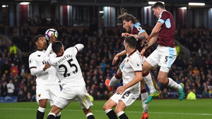 Jeff Hendrick heads home Burnley's firs tgoal