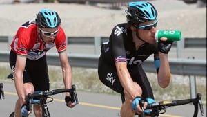 Bradley Wiggins (R) and Chris Froome in action for Team SKY in 2013