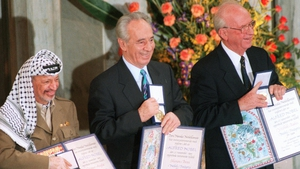 Yasser Arafat (l), Shimon Peres (m) and Israeli Premier Yitzhak Rabin win the 1994 Nobel Peace Prize