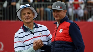Bill Murray and Davis Love during a celebrity scramble match at Hazeltine yesterday