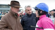 Willie Mullins (L) with Michael O'Leary and jockey Paul Townend