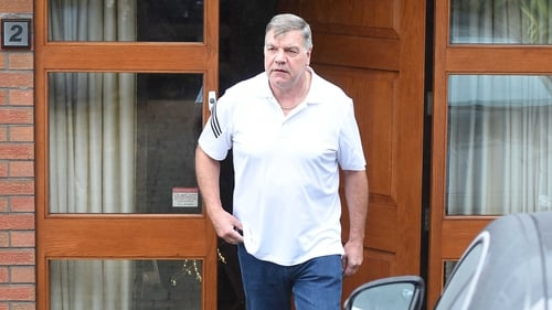 Sam Allardyce emerges from his home in Bolton this morning