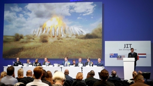 Members of the Joint Investigation Team present their findings in the MH17 report at the NBC Congress centre in Nieuwegein