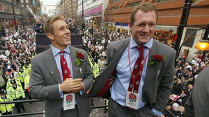 Richard Hill (R) with Jonny Wilkinson following England's 2003 World Cup triumph