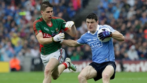 Diarmuid Connolly fends off Lee Mayo's Lee Keegan in the drawn All-Ireland final