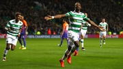 Moussa Dembele celebrates after scoring Celtic's third goal against Manchester City