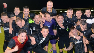 Dundalk players celebrating their Champions League qualifying round defeat of BATE Borisov at Tallght Stadium