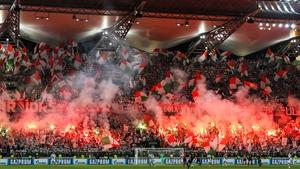 Legia Warsaw fans in full voice at Stadion Wojska Polskiego