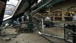The roof collapse after the transit train crashed into the platform at the Hoboken Terminal