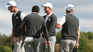Justin Rose, Rory McIlroy, Henrik Stenson and Andy Sullivan during a practice round at Hazeltine
