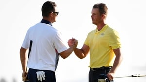Justin Rose (L) and Henrik Stenson will get the ball rolling for Europe at Hazeltine