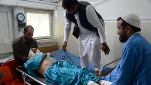 A man injured in the air strike is treated in hospital