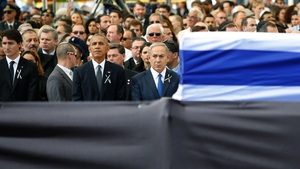 Barack Obama and Benjamin Netanyahu at the funeral of Shimon Peres