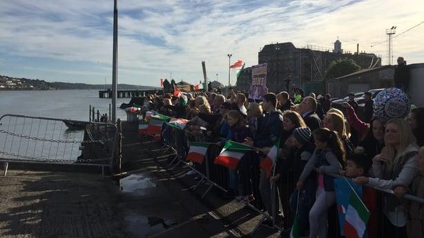 Crowds welcome LÉ James Joyce back to Cork