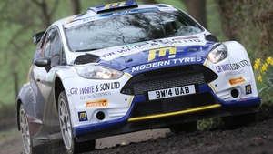Alastair Fisher leads the Irish Tarmac Rally Championship