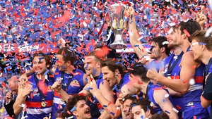 Western Bulldogs celebrate winning the competition for only the second time