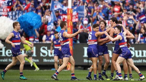 Bulldogs celebrate Tom Boyd's goal