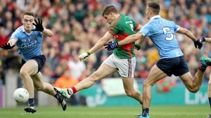 Lee Keegan fires to the net for Mayo