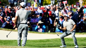 Sergio Garcia and Rafa Cabrera-Bello came from four down to finish all square with Jordan Spieth and Patrick Reed