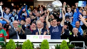 Dublin captain Stephen Cluxton lifts the Sam Maguire
