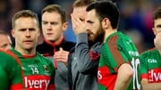 Mayo's goalkeeper Robert Hennelly consoled by Andy Moran and Kevin McLoughlin after the game