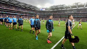 The teams parade around Croke Park prior to throw-in