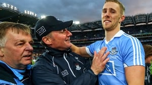 Dublin's Paul Mannion celebrates with manager Jim Gavin