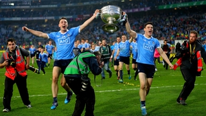 Cormac Costello and Diarmuid Connolly parade Sam at the end