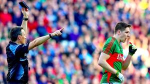 Lee Keegan receives a black card during the All-Ireland final replay against Dublin