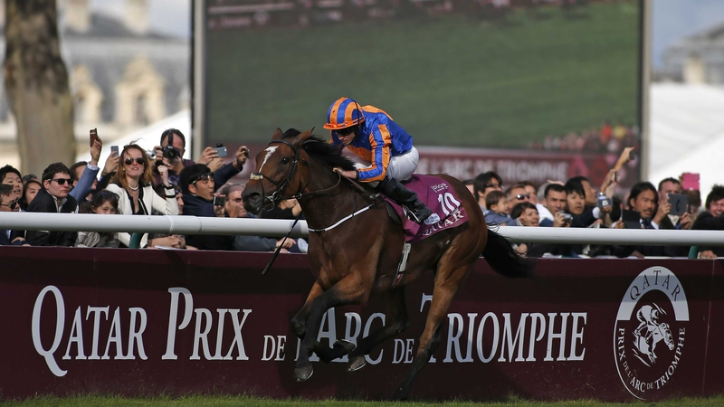 Found, ridden by Ryan Moore, en route to winning the Prix de l'Arc de Triomphe