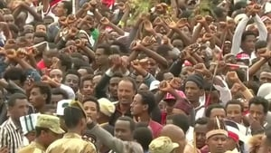 Anti-government protesters gathered at the religious festival in Ethiopia's Oromiya region