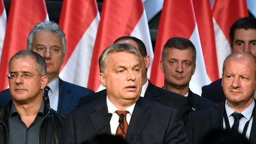 Hungarian Primie Minister Viktor Orban (centre) delivers a speech during the Fidesz party's event after the referendum in Budapest, Hungary