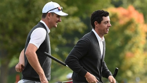 Justin Rose and Rory McIlroy at Hazeltine