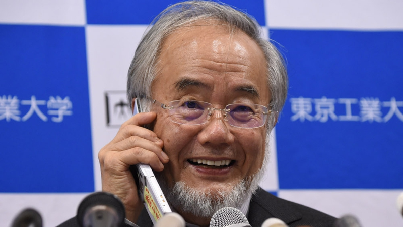 Yoshinori Ohsumi speaks to Japanese Prime Minister Shinzo Abe on a phone during a news conference in Tokyo today